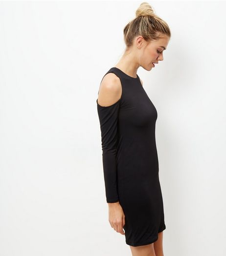 Black Cold Shoulder Long Sleeve Dress  | New Look