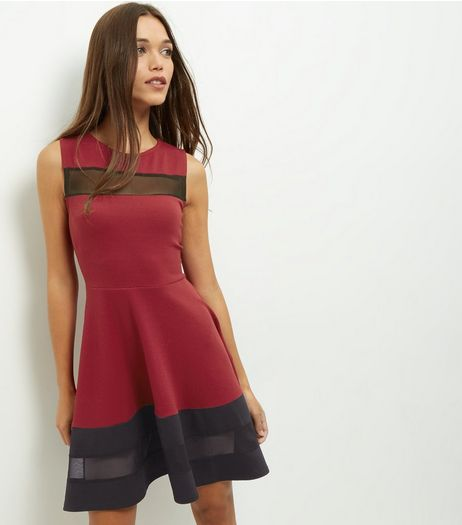 Cameo Rose Burgundy Mesh Panel Skater Dress | New Look