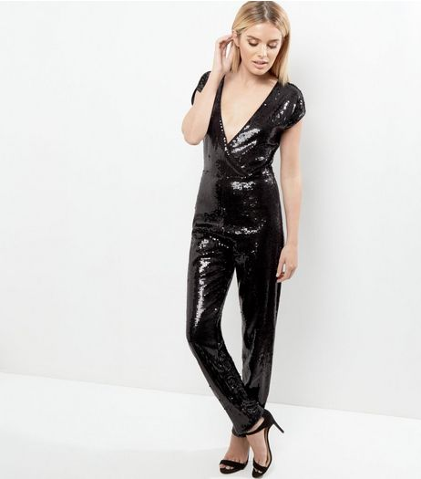 Black Sequin V Neck Wrap Front Short Sleeve Jumpsuit  | New Look