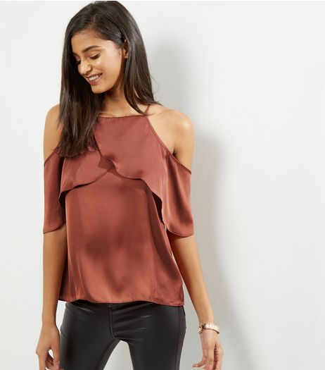Light Brown Sateen Cold Shoulder Cami Top  | New Look