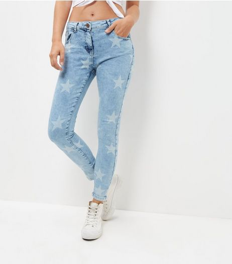 Parisian Blue Star Print Skinny Jeans | New Look