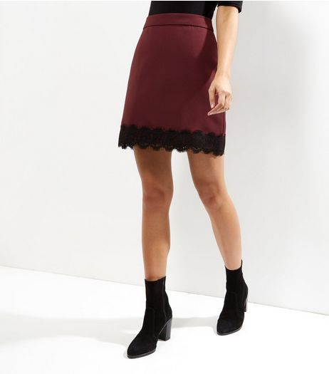 Burgundy Lace Hem A-line Skirt  | New Look