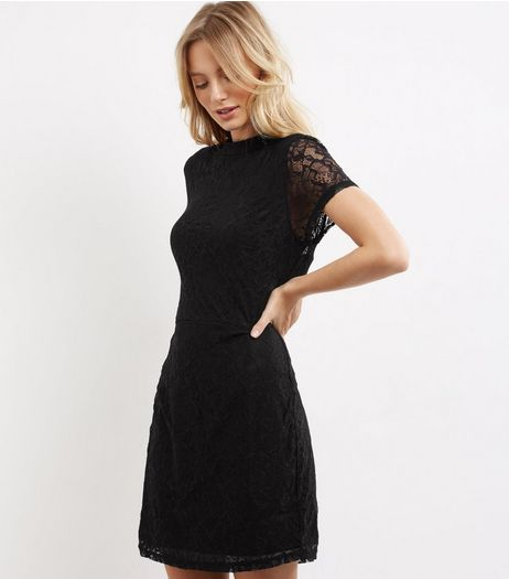Black Lace Funnel Neck Skater Dress | New Look