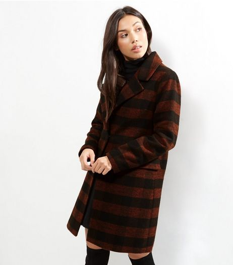 Red Check Longline Coat | New Look