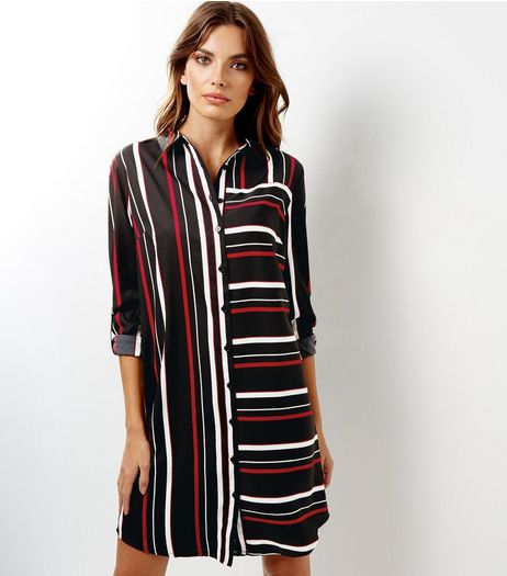 Black Contrast Stripe Midi Shirt Dress | New Look