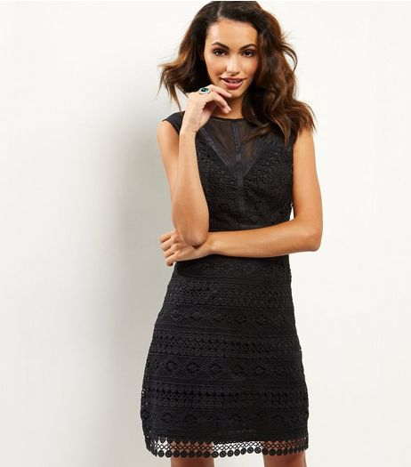 Black Premium Lace Mesh Panel Shift Dress | New Look