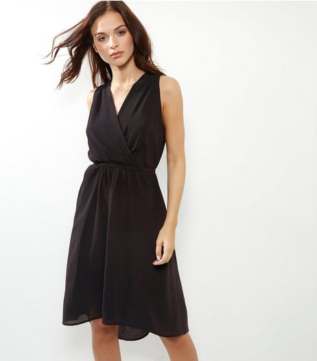 Black Sleeveless Drape Dress | New Look