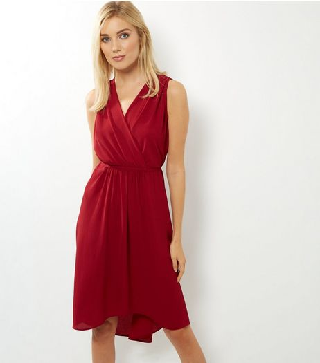 Burgundy Sleeveless Drape Dress | New Look