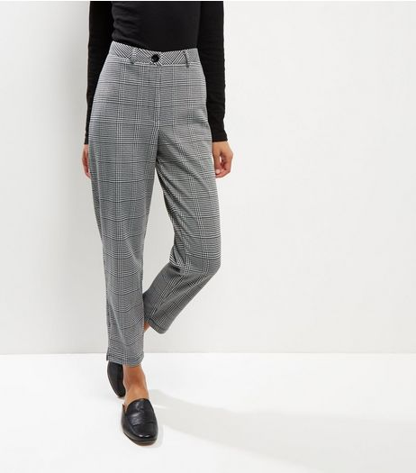Grey Check Trousers  | New Look