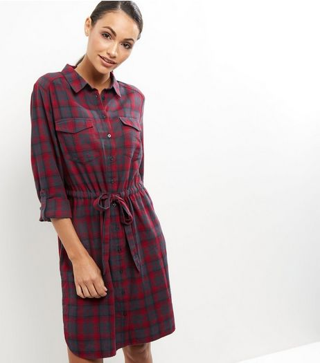 Black Check Belted Shirt Dress | New Look