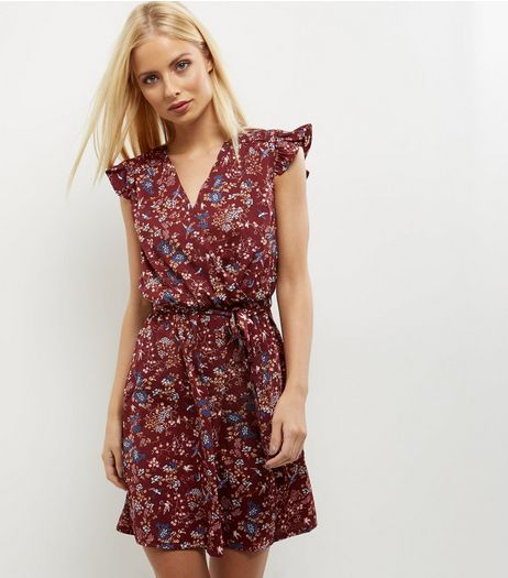 Burgundy Bird Print Frill Sleeve Wrap Dress | New Look
