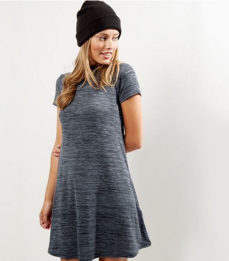 Dark Grey Funnel Neck Cap Sleeve Swing Dress | New Look