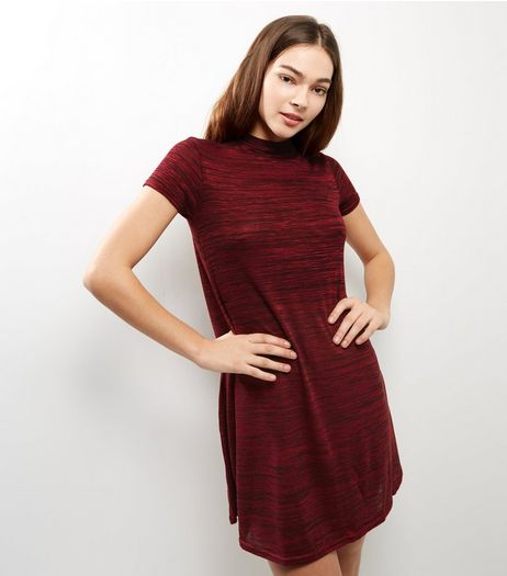 Burgundy Funnel Neck Cap Sleeve Swing Dress  | New Look