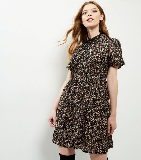 Black Ditsy Floral Print Tie Neck Belted Skater Dress | New Look