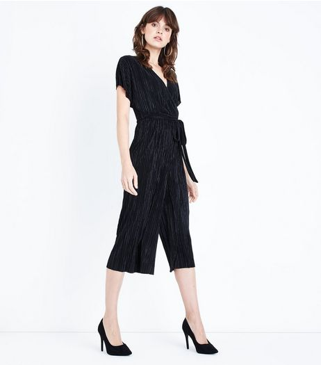 Black Pleated Wrap Front Culotte Jumpsuit  | New Look