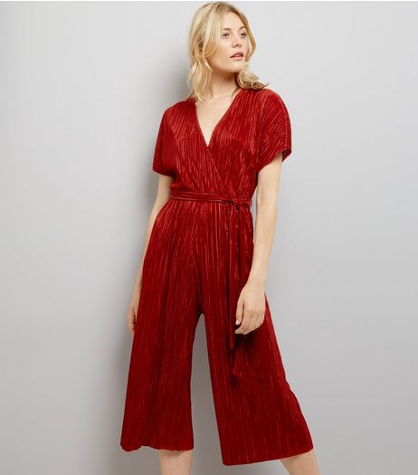 Brown Pleated Wrap Front Culotte Jumpsuit | New Look