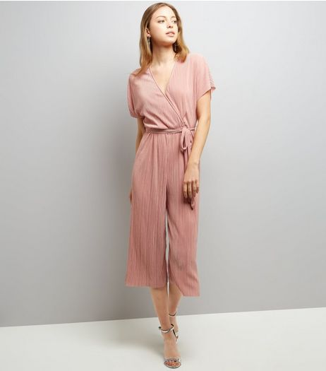 Light Pink Wrap Front Pleated Culotte Jumpsuit | New Look