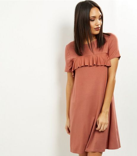 Light Brown Frill Trim Short Sleeve Swing Dress | New Look