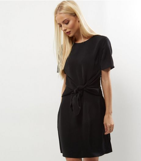 Black Tie Front A-Line Dress | New Look