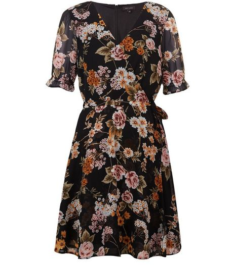 Black Floral Wrap Front Dress | New Look