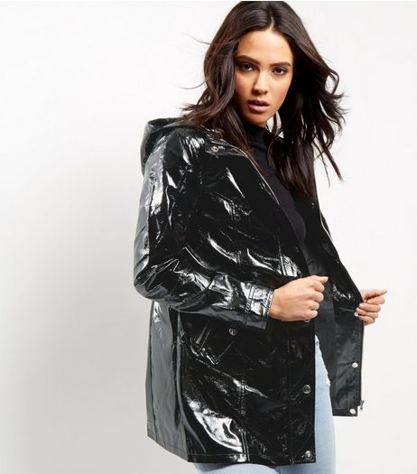 Black Patent Rain Coat  | New Look