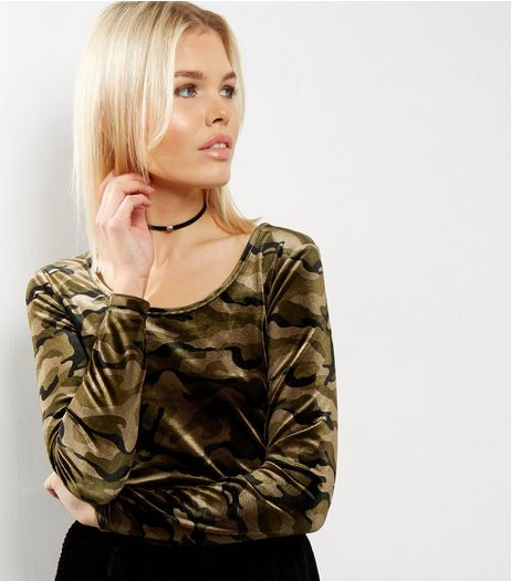 Green Velvet Camo Print Scoop Neck Top  | New Look