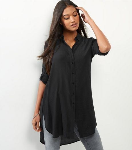 Black Long Sleeve Longline Shirt  | New Look