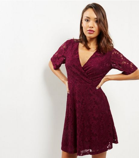 Burgundy Lace Kimono Wrap Front Dress | New Look
