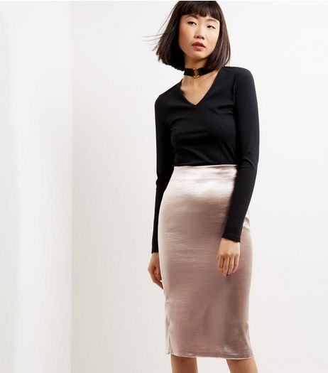 Mink Sateen Midi Skirt  | New Look