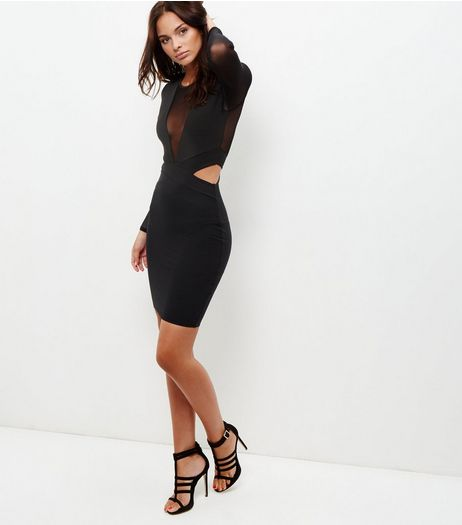 Black Mesh Panel Cut Out Bodycon Dress  | New Look