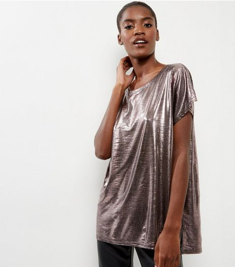 Pewter Metallic Snakeskin Textured Top | New Look