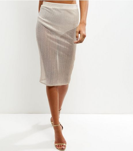 Gold Sheer Pencil Skirt | New Look
