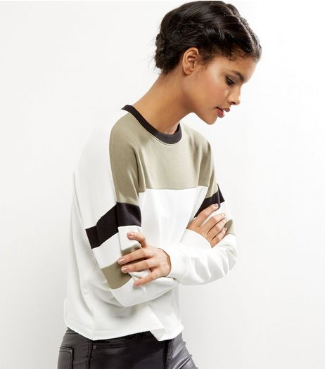 White Colour Block Stripe Sleeve Sweater  | New Look