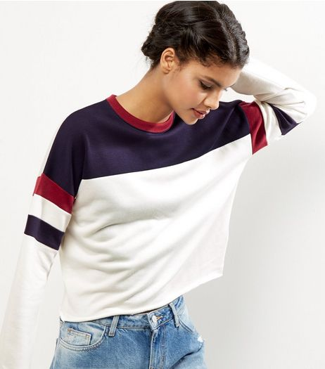 Navy Colour Block Stripe Sleeve Sweater  | New Look