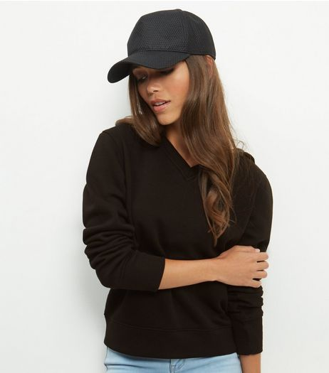 Black V Neck Hooded Sweater  | New Look