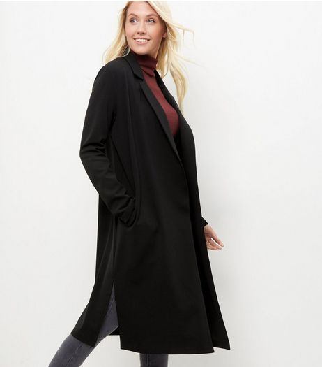Black Scuba Crepe Longline Coat | New Look