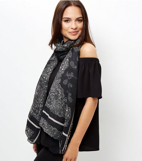 Black Paisley Print Longline Scarf | New Look