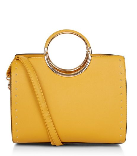 Yellow Structured Metal Handle Tote Bag | New Look