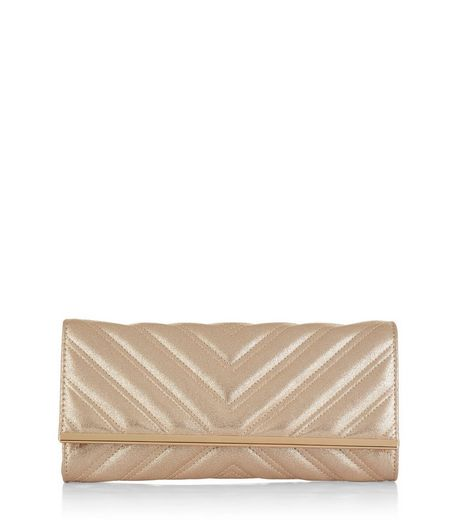Gold Metallic Quilted Clutch | New Look