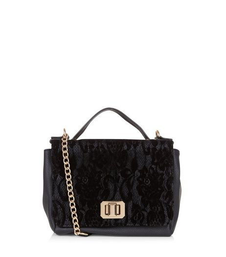 Black Lace Front Satchel | New Look