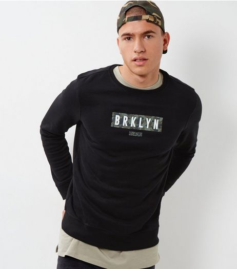Black Brooklyn Camo Print Panel Sweater | New Look