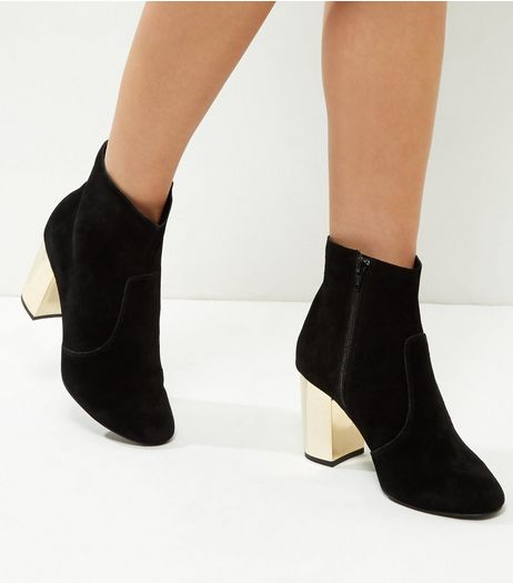 Wide Fit Black Suede Metal Block Heel Boots | New Look
