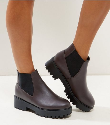 Wide Fit Dark Red Suedette Chunky Chelsea Boots | New Look