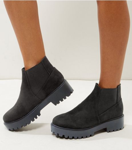 Wide Fit Black Suedette Chunky Chelsea Boots | New Look