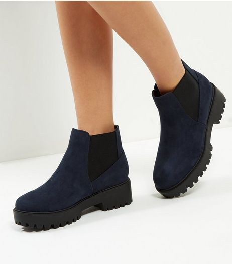 Wide Fit Navy Chunky Cleated Sole Chelsea Boots | New Look