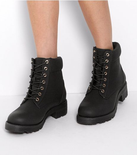 Wide Fit Black Lace Up Boots | New Look