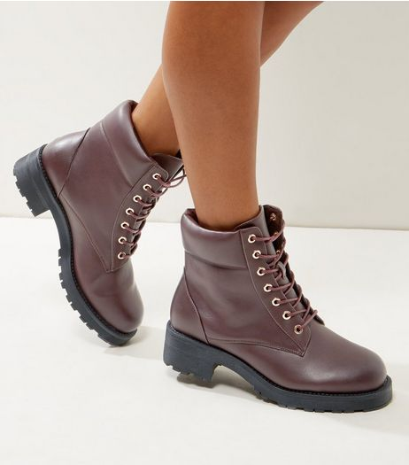 Wide Fit Dark Red Worker Boots | New Look