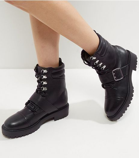 Wide Fit Black Lace Up Buckle Chunky Boots | New Look