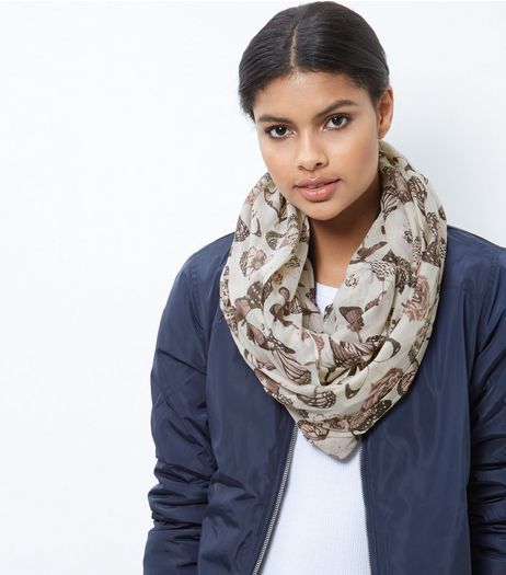 Cream Butterfly Print Snood | New Look