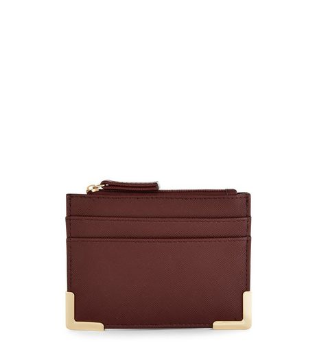 Burgundy Gold Trim Cardholder | New Look